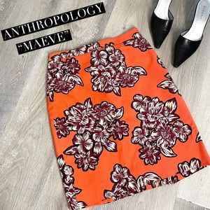 Maeve by Anthro Orange Floral Pencil Skirt Size 2